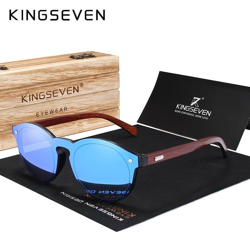 KINGSEVEN Natürliche Handgemachte Holz Sonnenbrille UV400 Männer Sonnenbrille Frauen Marke Design Original Palisander Brillen Oculo