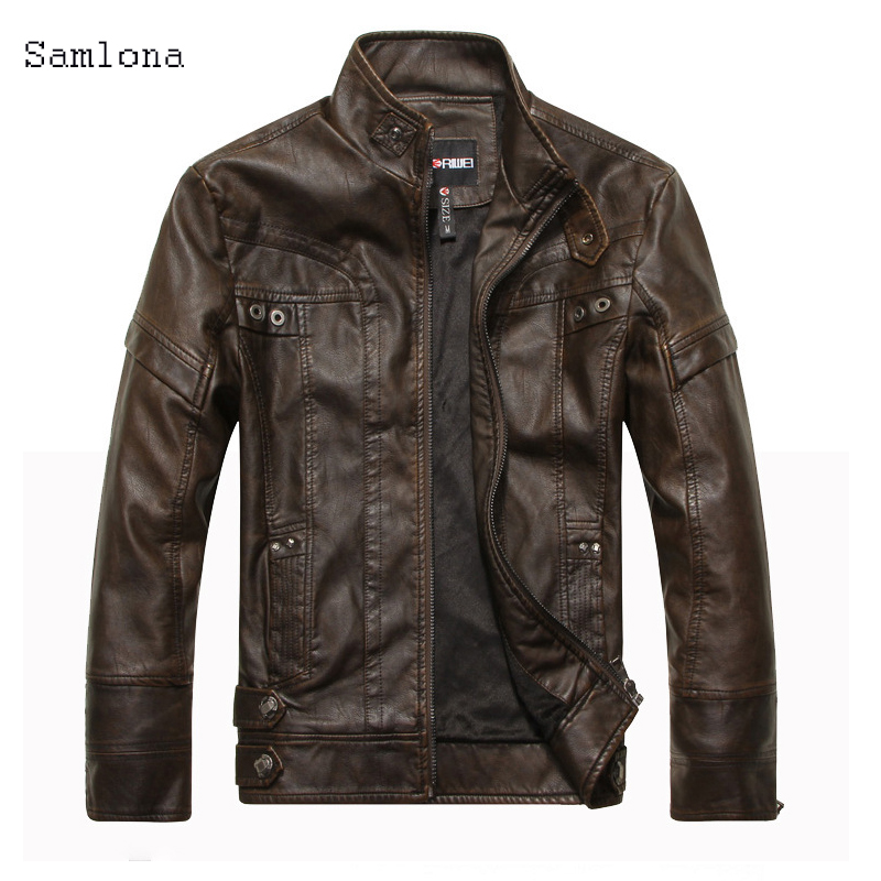 Plus Size 4xl 5xl PU Leather Coat Jacket Men Fashion Slim Jacket Zipper Motorcycle Male Turn Down Collar Autumn Winter Outerwear