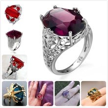 Vintage Crystal Rings For Women Retro Purple Red Gem Stone Wedding Party Green Zircon Ring Girl Gift anillos Female R5