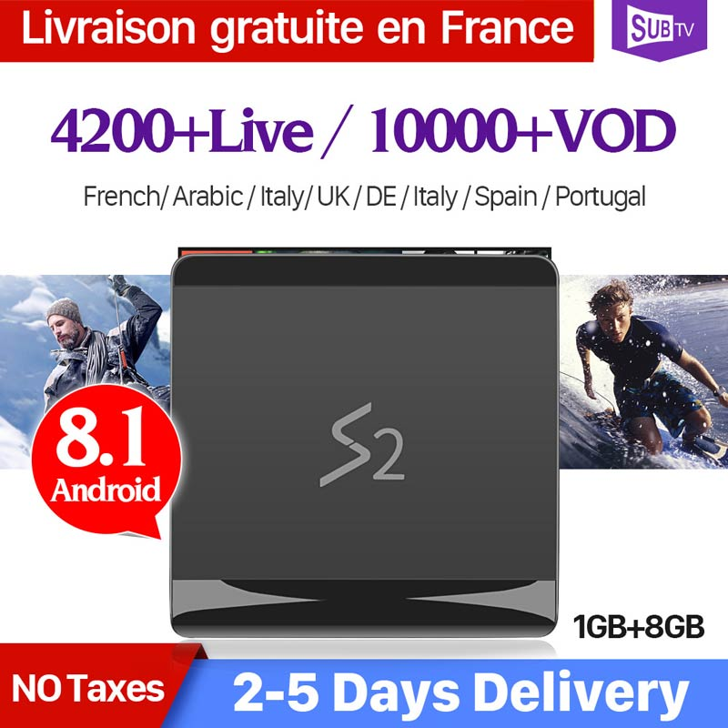 4K IPTV France Subscription SUBTV Code 1 Year Leadcool S2 TV Box RK3229 Android 8 1