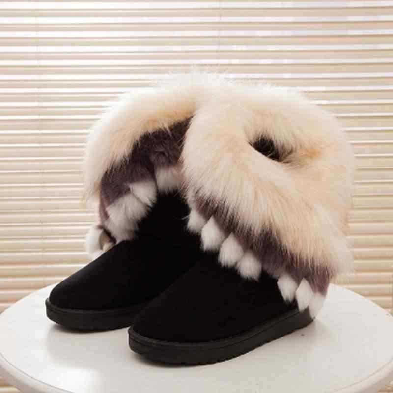 REAVE KEDI Kadın Flats Ayak Bileği Kar Botları Kürk Botları Kış sıcak Kar zapatos kadın Yuvarlak Ayak Kadın Akın Deri botas boyutu 36-40