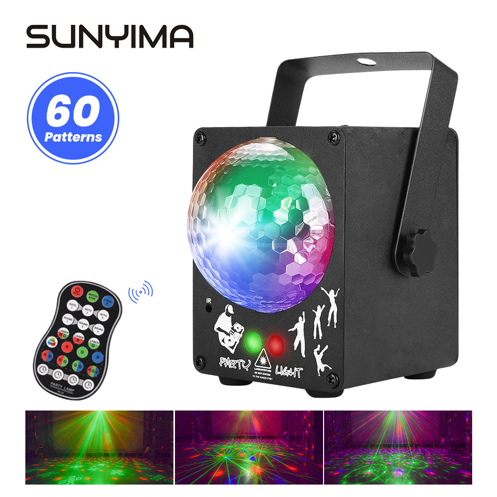 SUNYIMA 18w Stage Light Sound Activated Rotating Disco Ball DJ Party Lights RGB LED Stage Light For Christmas Wedding