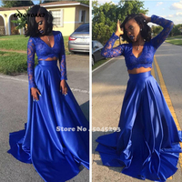SATONOAKI 2019 New Summer Royal Blue Black Girl Sexy Two Pieces Prom Dress Lace Applique Long Sleeve V Neck Formal Evening Gown