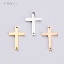 X-ROYAL 10Pcs/lot Double Hole Cross Stainless Steel Necklace Pendant 11*18mm Rose Gold Black Colorful DIY Jewelry Findings Charm