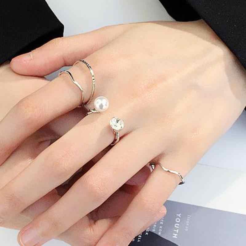 ใหม่สี่ชิ้นชุดแหวนส่วนบุคคล Zircon แหวนเรขาคณิตสำหรับผู้หญิง Anel เครื่องประดับเกาหลีเงินทองแหวนเครื่องประดับ
