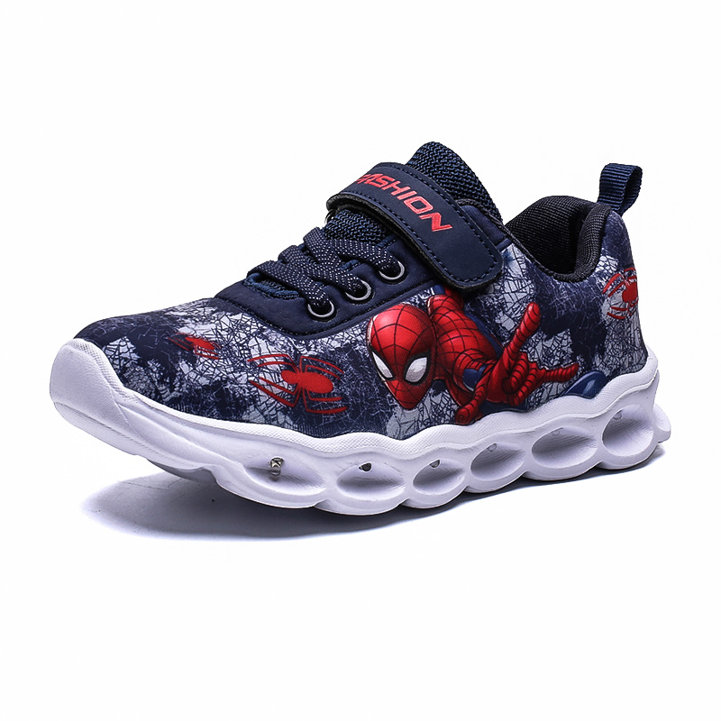 2020 Boys Led Shoes Girls Cartoon Light up Luminous Sneakers Glowing Illuminated Spiderman Running  Shoes for Kids 3