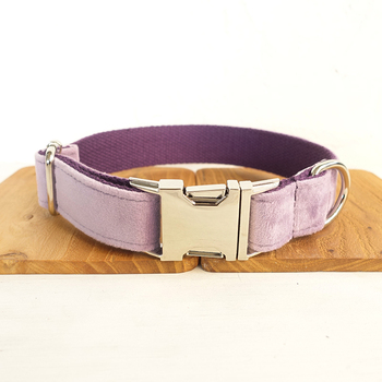 2020 Gentle Style Pretty dog collars and leashes set 5 sizes Handmade soft pet accessory THE VIOLET UDC082 image