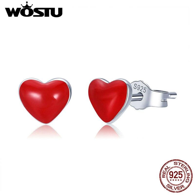 WOSTU Hot Sale 100% 925 Sterling Silver Sweet Red Heart Enamel Girly Stud Earrings For Women Silver Party Jewelry Gift CSE147