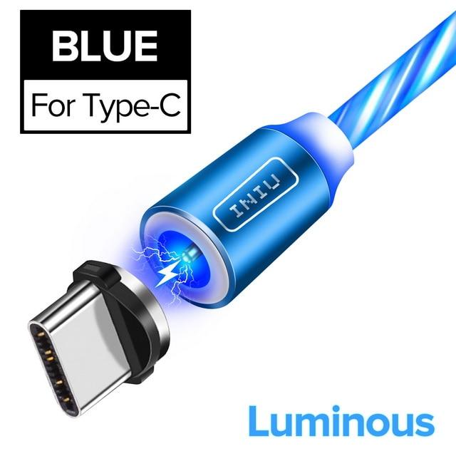 INIU световой поток магнитного освещения USB кабель для iPhone XR X 7 8 микро Тип C зарядное устройство Быстрая зарядка магнит зарядка USB-C тип-c - Цвет: For Type C Blue