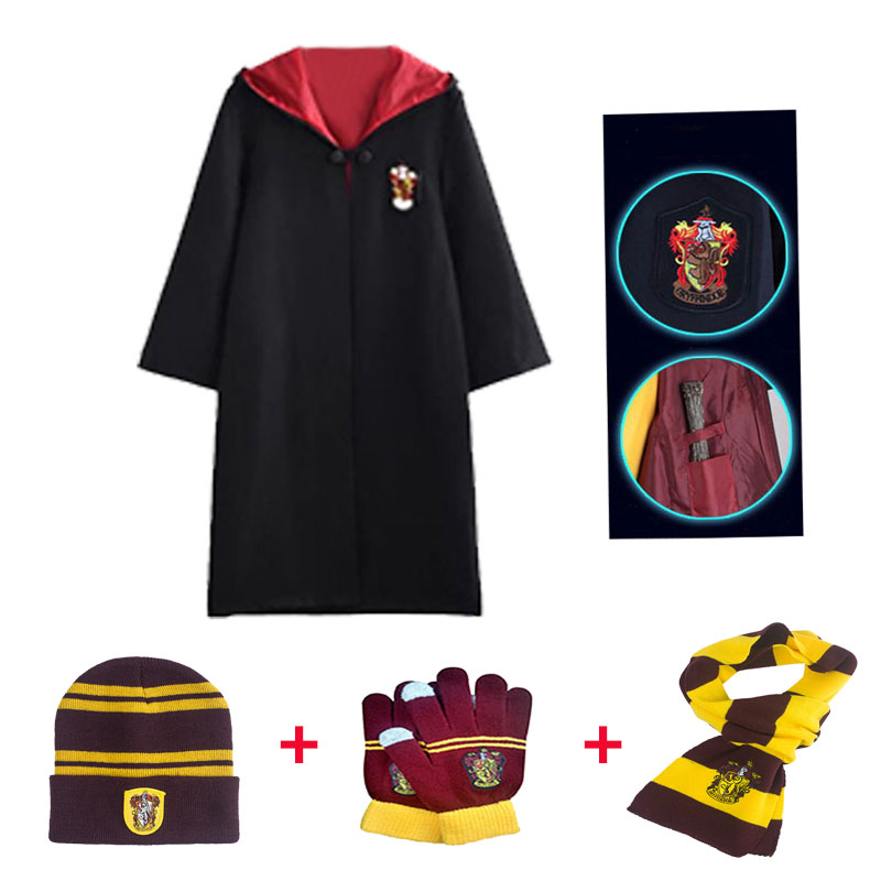Gryffindor Ravenclaw Hufflepucci Slytherin Adult Kid Cosplay Colleges Robe Cloak   Scarf Hat Gloves   Halloween Costume Gift