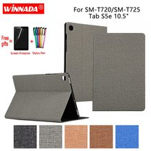 купить For Samsung T720 / T725 case linen grain PU leather Stand Protective Case TPU Cover for Samsung Galaxy Tab S5e 10.5 2019 Coque дешево