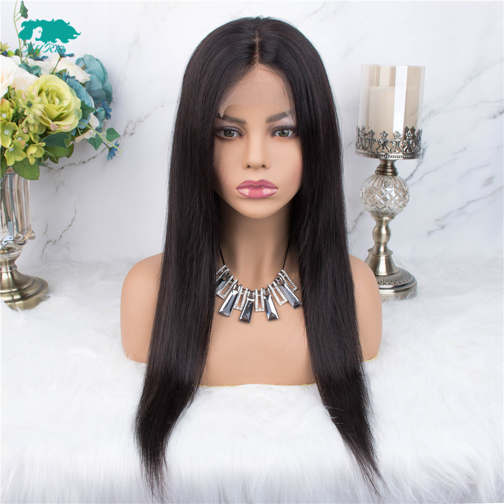 AllRun Brazilian Lace Closure Human Hair Wigs For Women Non Remy Hair Straight 4×4 Lace Closure Wigs With Baby Hair