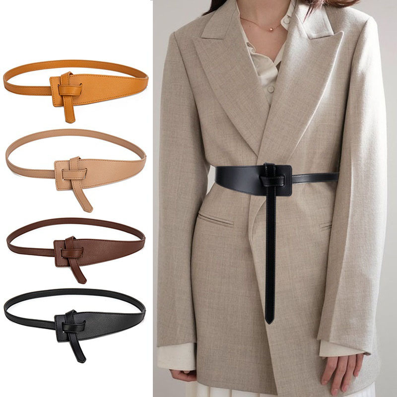 Knot Pu Leather Belts for Women Soft Knotted Strap Belt Long Dress Accessories Lady Waistbands