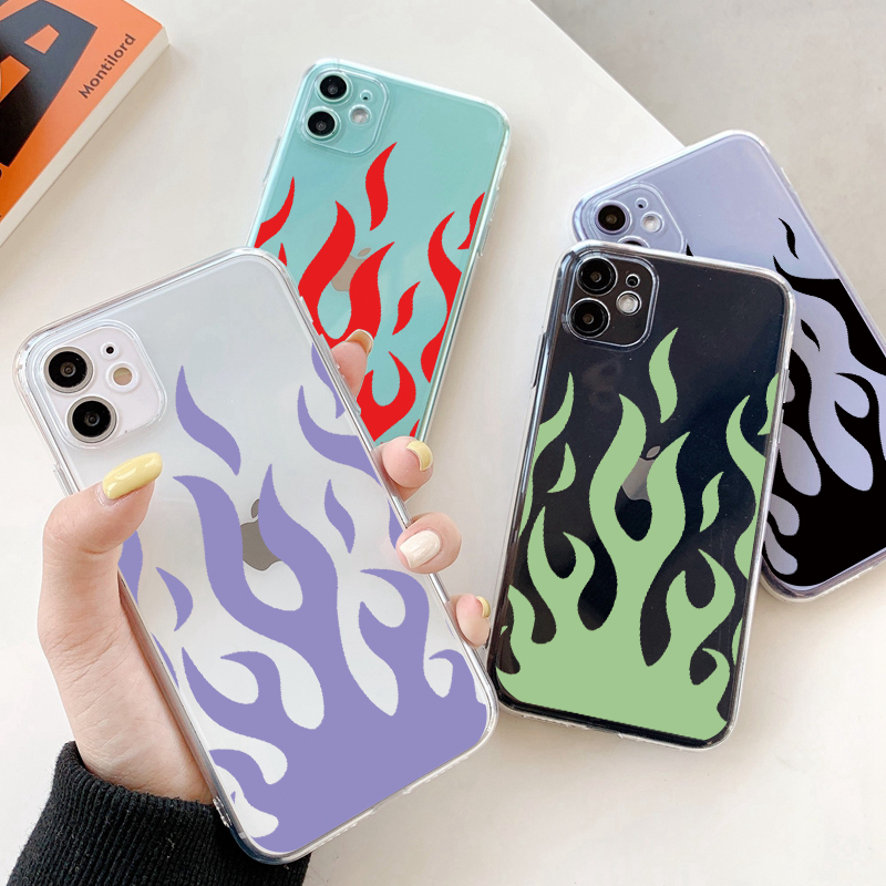 Fashion Flame Pattern Phone Case For iPhone 11 12 X XR 11Pro XS MAX 6 S 7 8 Plus SE 2020 Ocean Wave Clear Soft Back Cover Coque