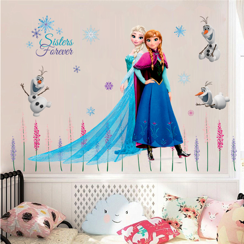 Cartoon Olaf Elsa Queen Anna Princess Anime Wall Stickers Kids Room Baseboard Home Decoration Mural Cute Art Frozen Movie Poster