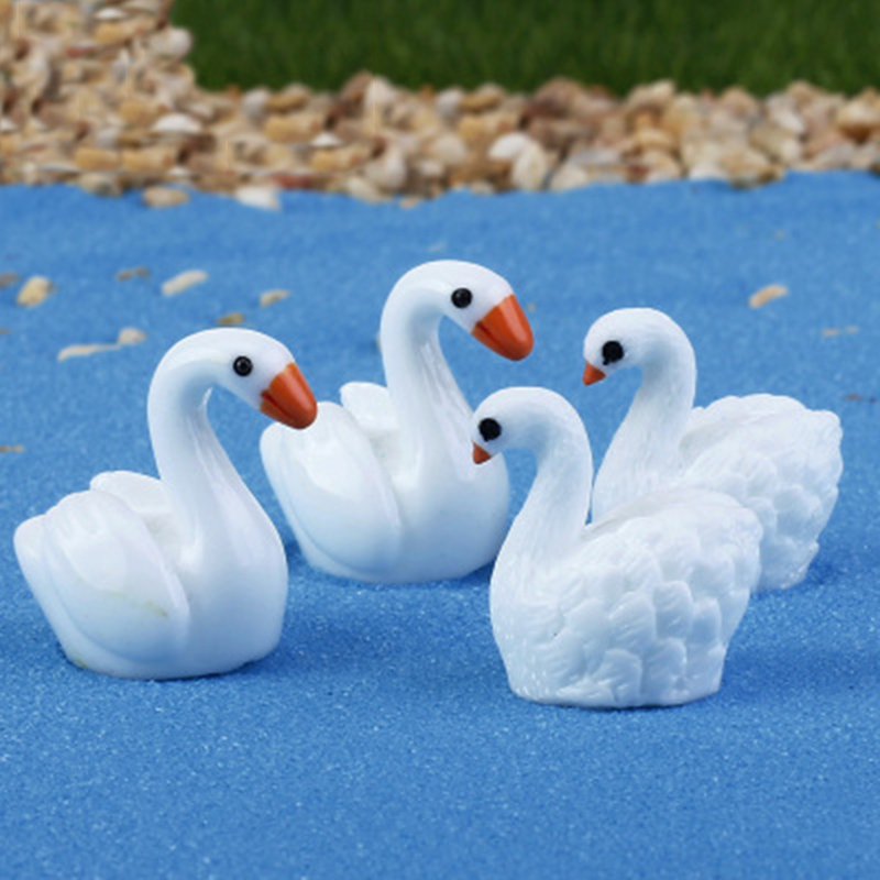 Goose Goosey Goosie Ganso Swan Lake Model Small Statue Figurine Micro Crafts Ornament Miniatures DIY Home Garden Decoration
