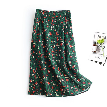 2020 Colorful Leopard Print Long Skirt Fashion Women Ladies Green High Waist Split A-line Maxi Skirt Female 1