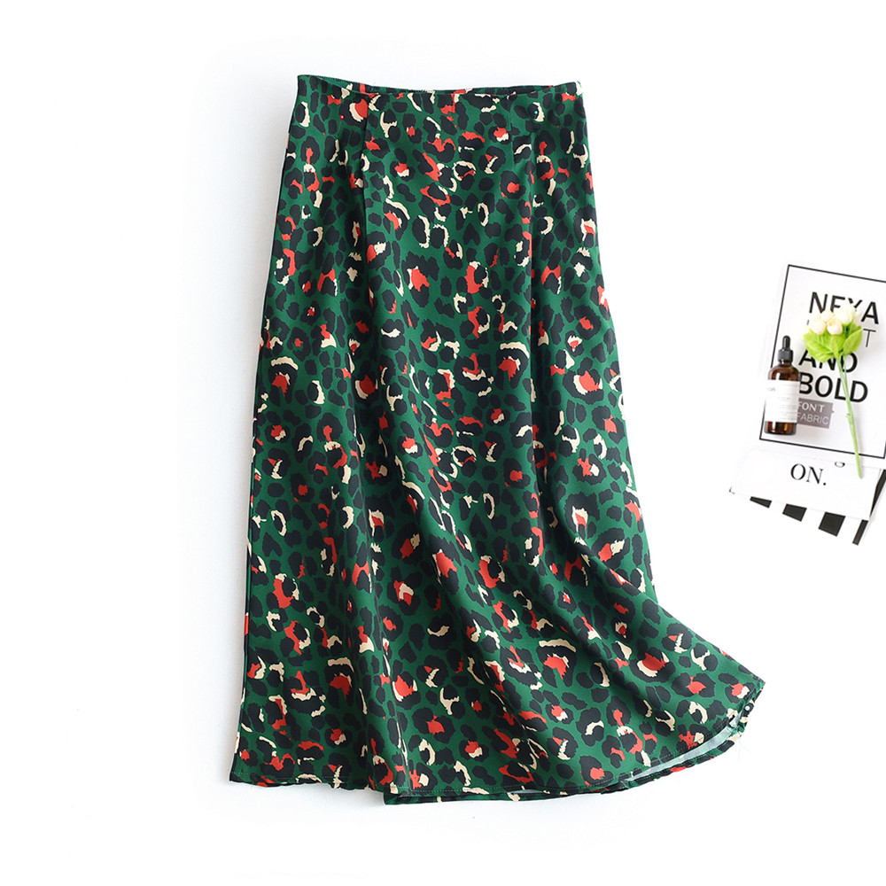 2020 Colorful Leopard Print Long Skirt Fashion Women Ladies Green High Waist Split A-line Maxi Skirt Female