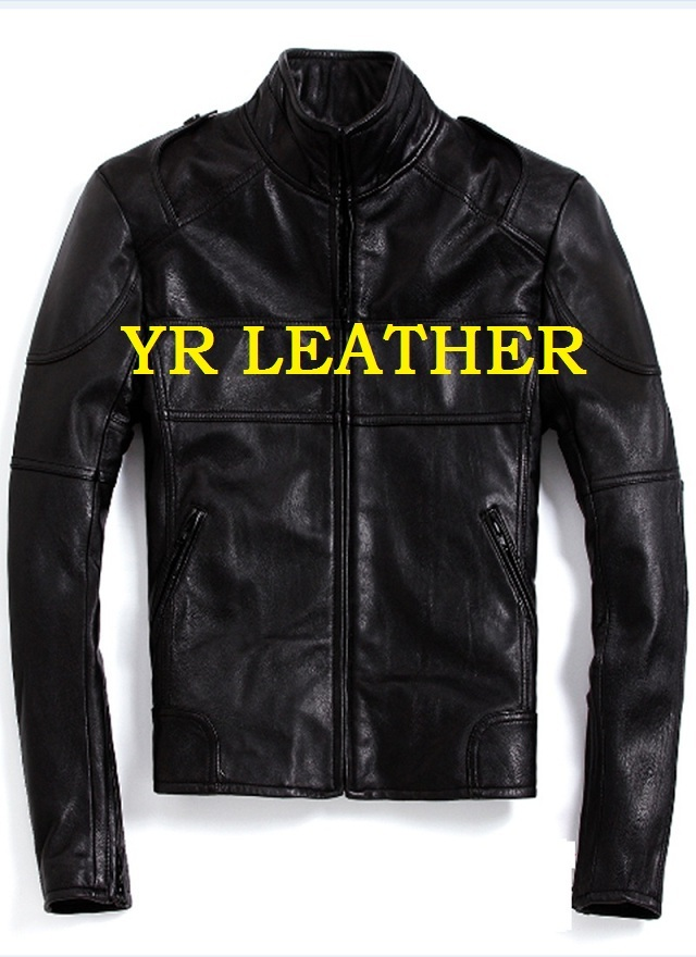 Free Shipping.Wholesales.Brand Men Motor Biker Style Genuine Leather Jacket.black Cow Leather Coat.slim Cowhide Jackets