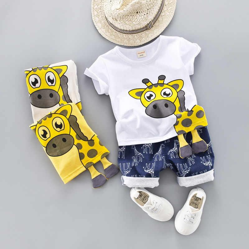 Детский костюм коллекция 2019 года, новые летние костюмы для мальчиков и девочек летний детский костюм с жирафом, с воротником-девизом Детские костюмы из двух предметов