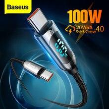 Baseus PD 100W USB C À USB Type C Câble De Charge Rapide Chargeur Fil Cordon USB-C Type-c USBC Câble Pour Xiaomi POCO X3 Pro Samsung