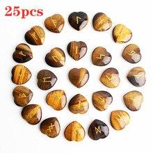 25Pcs Natural Crystal Runes Heart Shaped Pendant Divination Tumbled Stone Polished Gemstone Gravel Healing Aquariums Decor natural reef aquariums