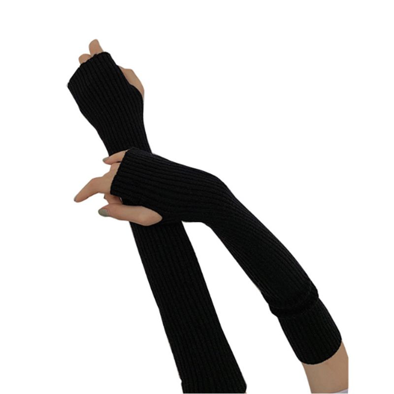 Womens Winter Ribbed Knit Long Fingerless Gloves Over Elbow Arm Warmer Sleeve 35EF