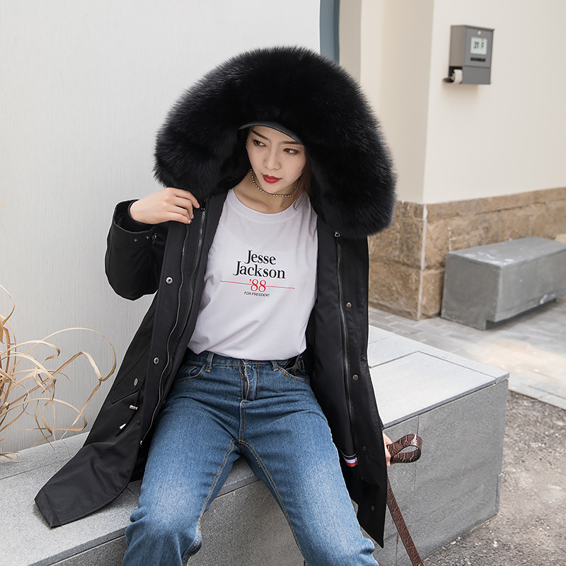 real fur coat women rex Rabbit Fur Coat Women Clothes 2020 Real Fur Parka Warm Winter Coat Women Manteau Femme 1906 YY1077