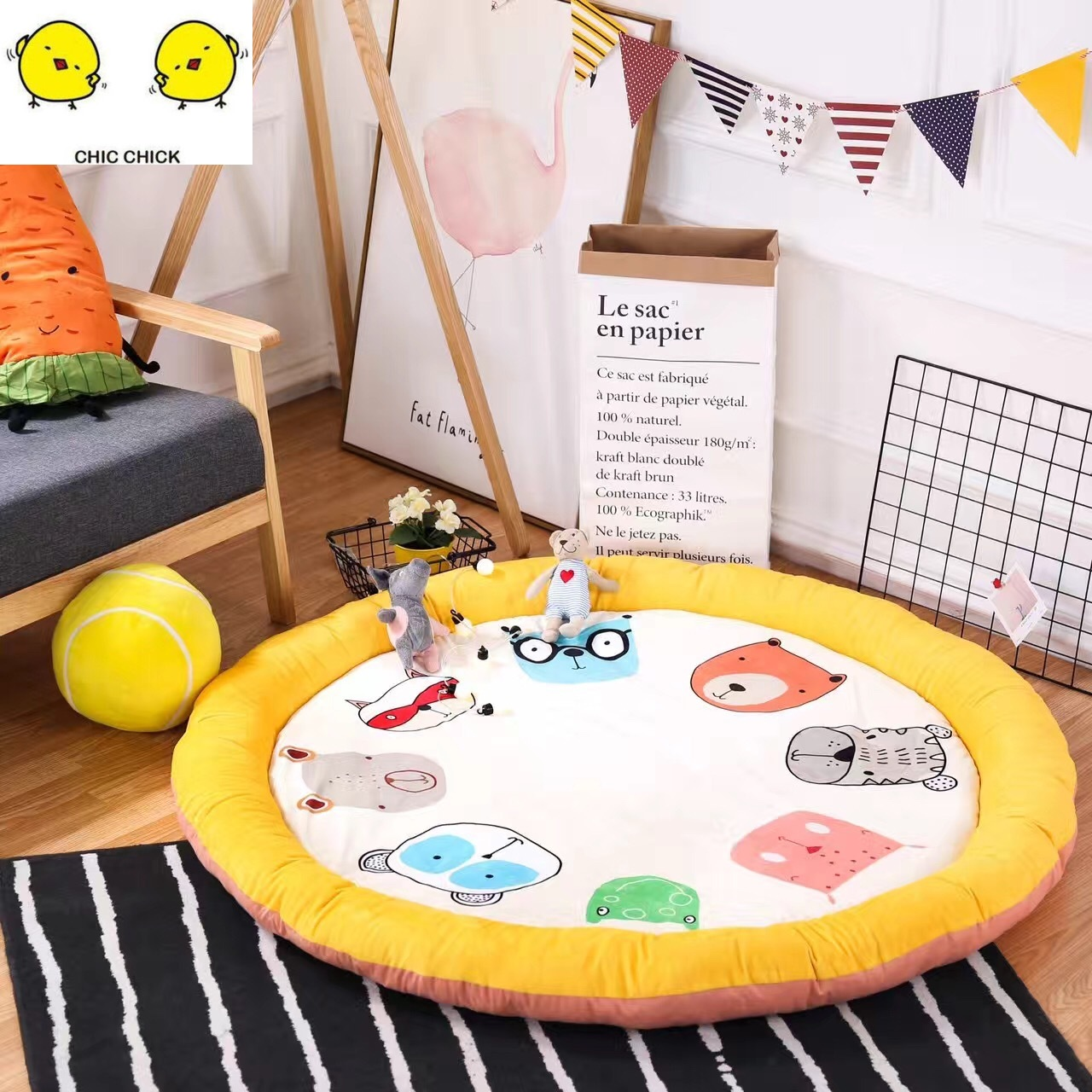 Play Mat Cartoon Animal Baby Mat Newborn Infant Crawling Blanket Cotton Round Floor Carpet Rugs Mat for Kids Room Nursery Decor форма для нарезки арбуза