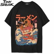 Футболка мужская в японском стиле Харадзюку, лето 2020, футболки в стиле хип хоп, футболки с рисунком лапши, корабля, Повседневный хлопковый топ с коротким рукавом