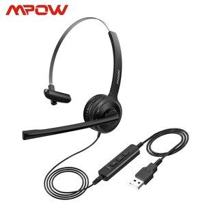 Image 1 - Mpow BH323有線ステレオコンピュータヘッドセットをキャンセルするノイズとマイク3.5ミリメートル/usbプラグ柔軟な回転コールセンターpcのラップトップ