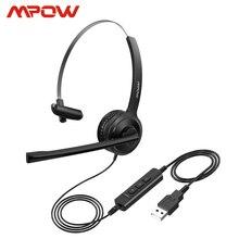 Mpow BH323 kablolu Stereo bilgisayar kulaklığı gürültü iptal Mic ile 3.5mm/USB esnek rotasyon çağrı merkezi PC dizüstü bilgisayar