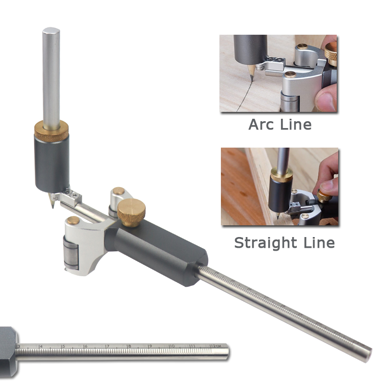 Straight And Arc Line Scribe Dual-purpose Scribe Parallel Line Drawing Marking Gauge Automatic Carpentry Scribing Tool