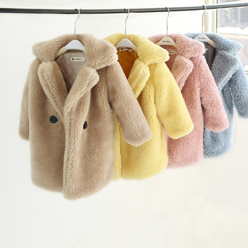 Children Faux Fur Coat Baby Turndown Collar Thicken Warm Jacket Long Overcoat Winter Kids Girls Casual Outwear For 2-12 Years