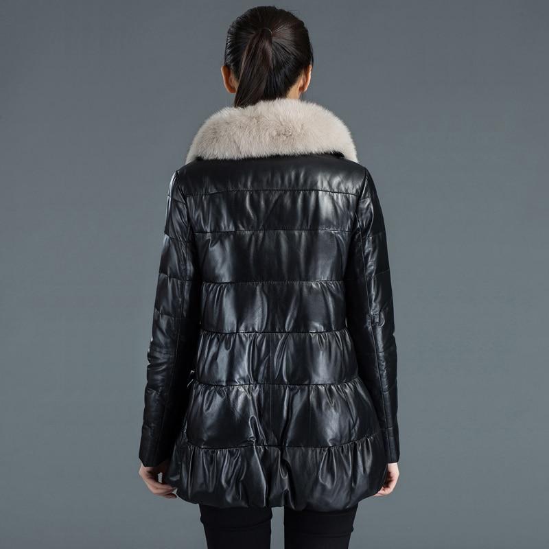 Real 100% Sheepskin Coat Female Mink Fur Collar Down Jacket 2020 Winter Jacket Women Genuine Leather Jackets 4xl MY3672 S