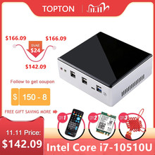 2020New 10 세대 미니 PC 인텔 i7 10510U i5 8250U 4 코어 2 * DDR4 M.2 NVMe NUC 데스크탑 컴퓨터 Win10 Pro 2 Lan WiFi USB C DP HDMI