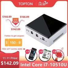 2020New 10th Gen Mini PC Intel I7 10510U I5 8250U 4 Nhân 2 * DDR4 M.2 NVMe NUC Máy Tính Win10 Pro 2 Lan WiFi USB C DP HDMI