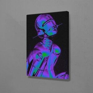 Vaporwave робот, футуристическая живопись, настенная живопись, холст для гостиной, дома, спальни, учебы, общежития, украшения, принты