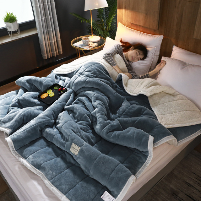 Claroom Super Warm Weighted Blanket Luxury Thick Blankets For Beds Fleece Blankets and Throws Winter Adult Bed Cover UX49#