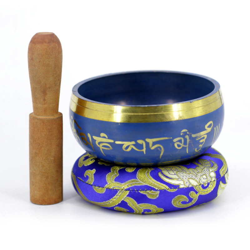 Silent Mind   Tibetan Singing Bowl Set   Blue Color Design   With Dual Surface Mallet And Silk Cushion   Promotes Peace