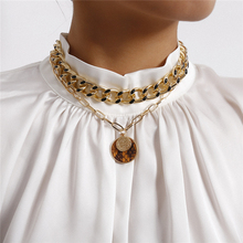 Luokey Vintage Punk Pendant Necklace Gold Color Cuban Link Chain Chunky Coin Necklaces Statement Choker Goth Jewelry Collar 2020 vagzeb vintage boho gold coin layered necklace for women punk vintage butterfly chain long choker collar pendant necklaces