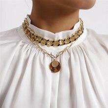 Luokey винтажное ожерелье в стиле панк с подвеской золотистого