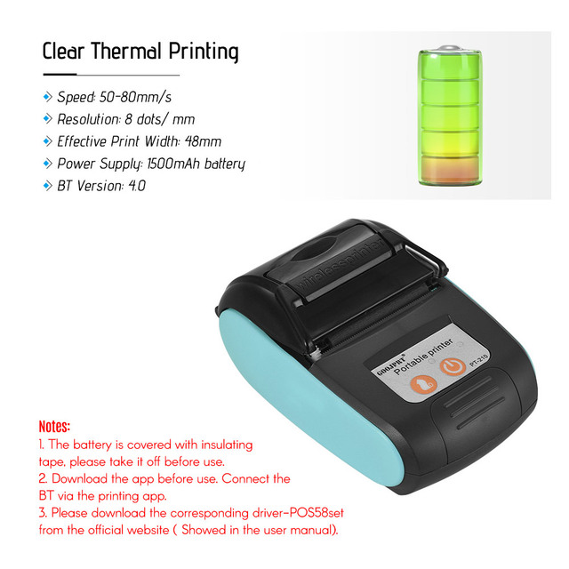 Wireless Mini 58mm Bluetooth Printer Portable Thermal Receipt Printer Mobile Phone Android iOS PC Pocket Bill Impresoras 2