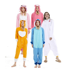 ночнушкапижамаWomens one-piece pajamas cartoon Fleece Pajamas Stevens love bear white Rooster dog