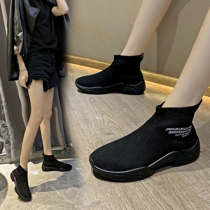Socks shoes women summer new wild casual breathable elastic high-top sneakers socks boots 2019 autumn women shoes 23