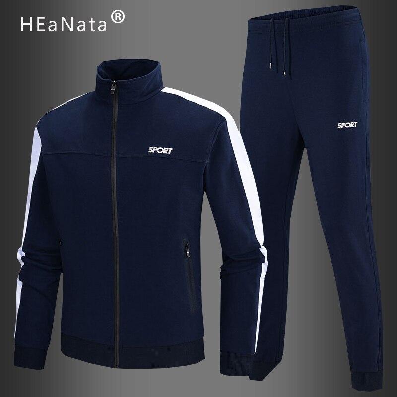 Men's Fashion Sportswear Sets Autumn Winter Male Casual Cotton Tracksuit Men 2 Piece Jacket  Sweatpants Set Jogging Clothing