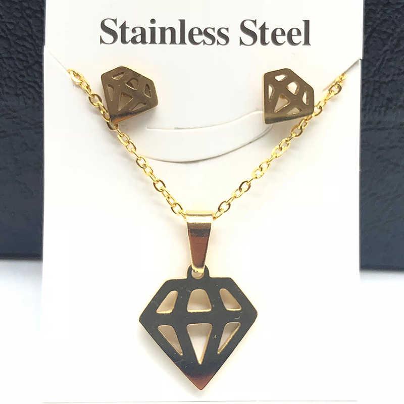 Mode Edelstahl Halskette Set Für Frauen Gold Und Silber Farbe Liebe Elektrokardiogramm Anhänger Halskette Engagement Schmuck