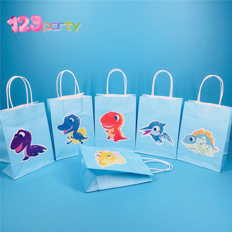 Dinosaur Theme Party Cute Paper Bag Gift Bag Baby Shower Kids Dinosaur Party Supplies Children Jungle Happy Birthday decoration αυτοκολλητα τοιχου καθρεπτησ