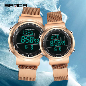 Image 2 - Relógio casal marca sinda 2019, relógio de pulso de aço da moda, com pulseira de malha de luxo, relógio de quartzo simples casual para casal