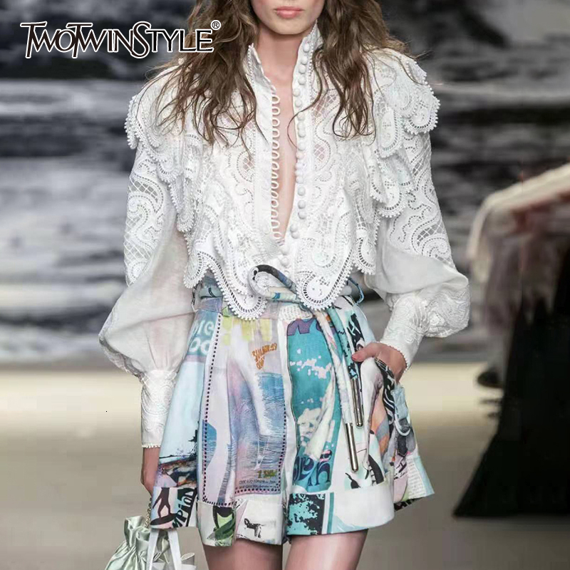 TWOTWINSTYLE Patchwork Two Piece Set For Women Embroidery Ruffle Shirts Print High Waist Shorts Female Suits 2019 Autumn New